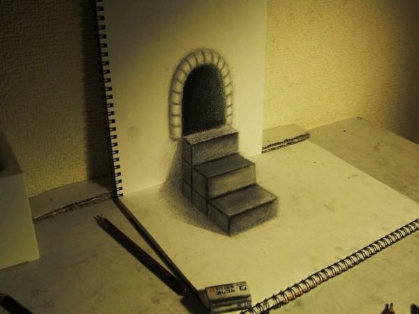 les dessins trompe l oeil de nagai hideyuki. Black Bedroom Furniture Sets. Home Design Ideas