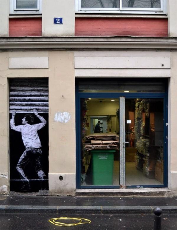 Levalet affiche collage 5 street art dans les rues de paris charles