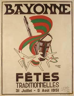 affiche-des-fetes-de-Bayonne-en-1951