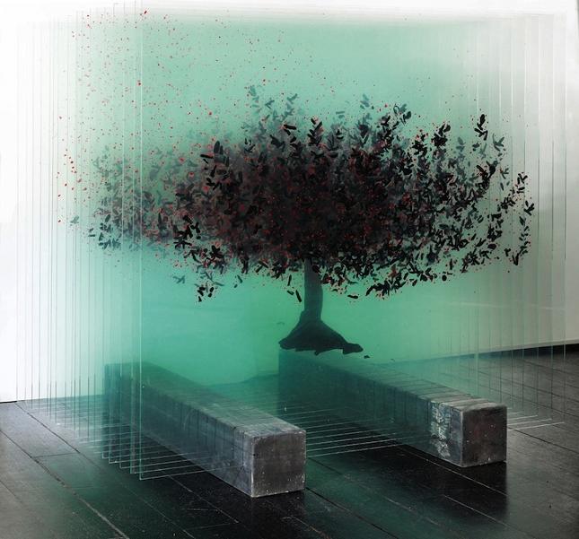 Des arbres tridimensionnels en verre
