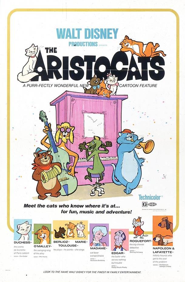 affiche Les aristochats walt disney 1970