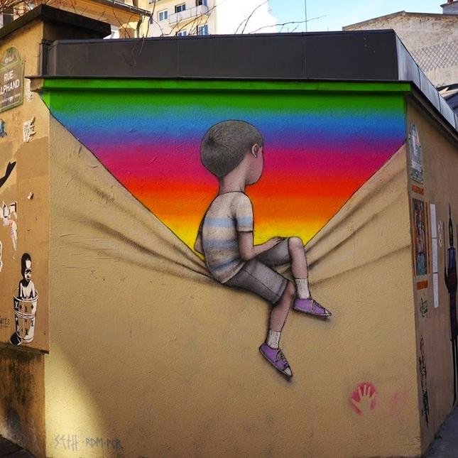 Street art dans les rues de paris charles leval for Murales faciles y creativos