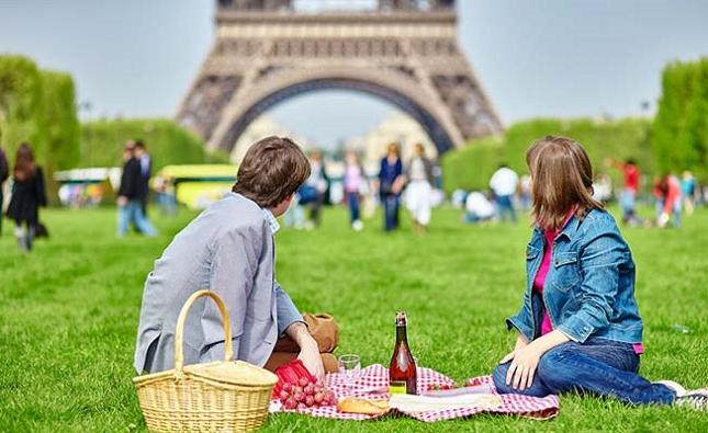 Un pique-nique en amoureux en face de la Tour Eiffel à Paris