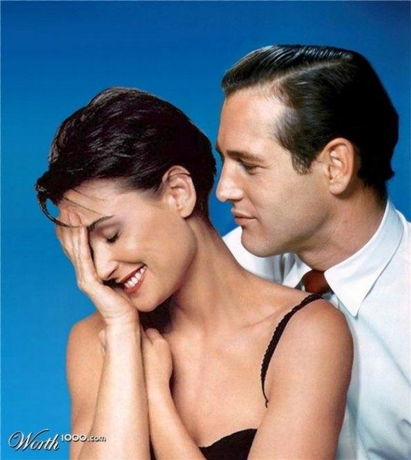 Demi Moore and Paul Newman