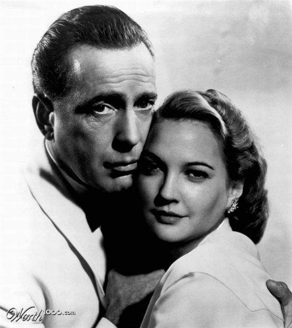 Humphrey Bogart and Drew Barrymore