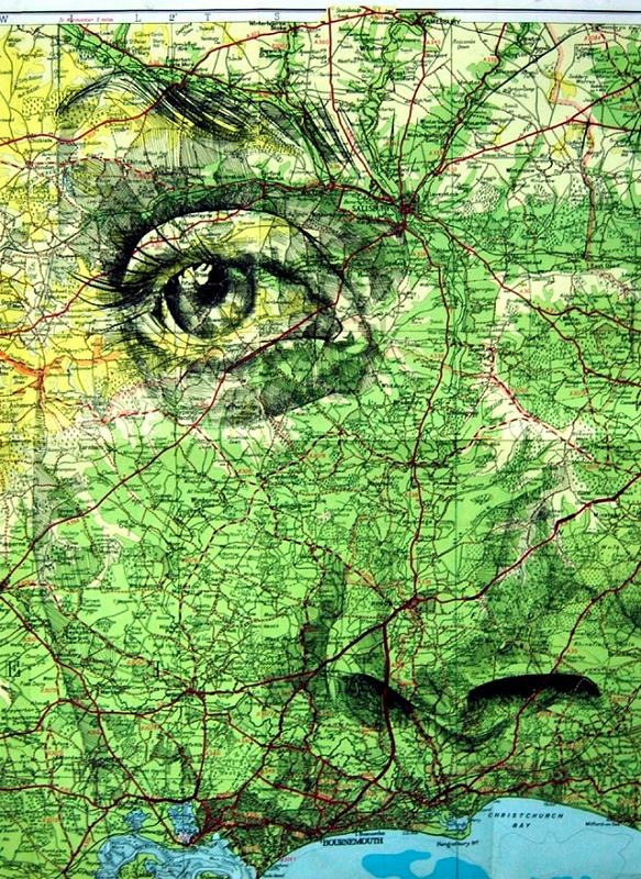 Portraits sur cartes routières