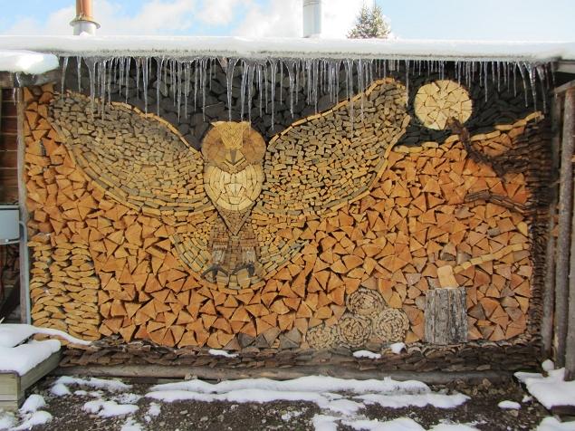 Land Art - Un hibou dans des troncs d'arbres