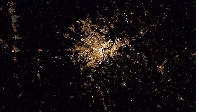 La ville de Bordeaux vue depuis l'espace