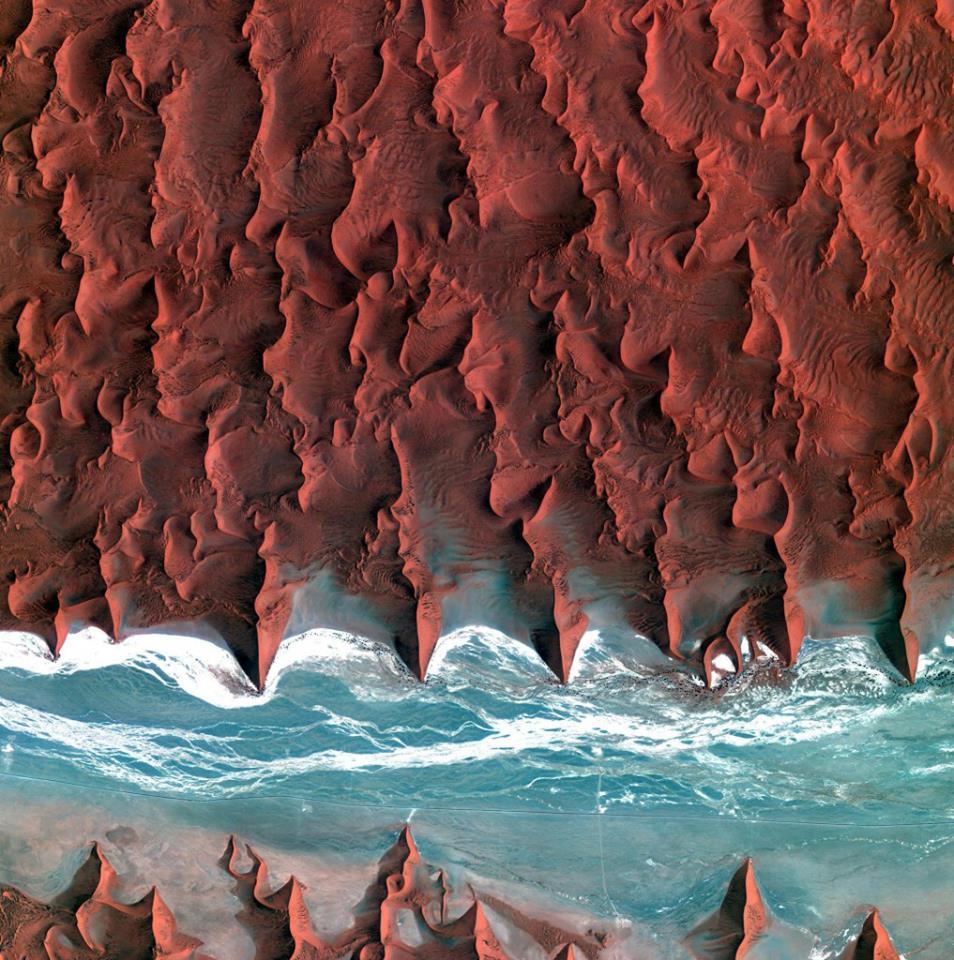 Les dunes du désert de Namib vues de l'espace