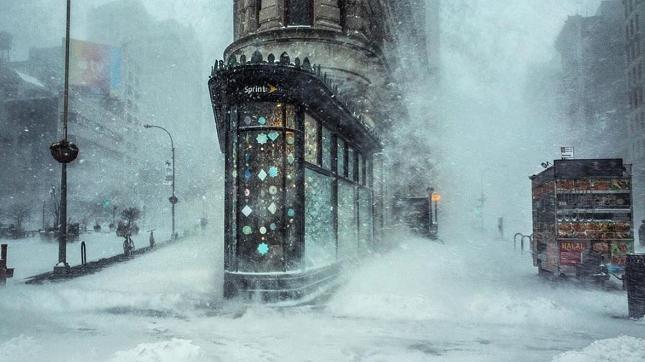 New York sous la tempete de neige Jonas
