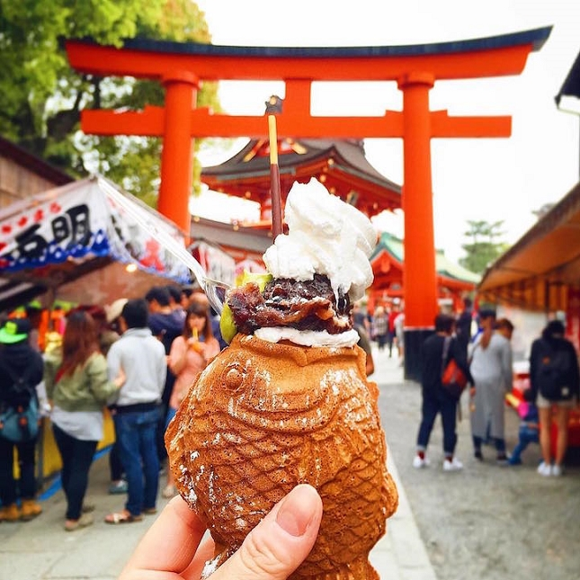 Fish-shaped Taiyaki à Kyoto, au Japon